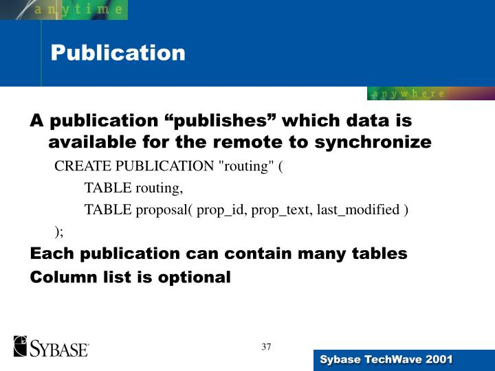 """A publication """"publishes"""" which data is available for the remote to synchronize"""