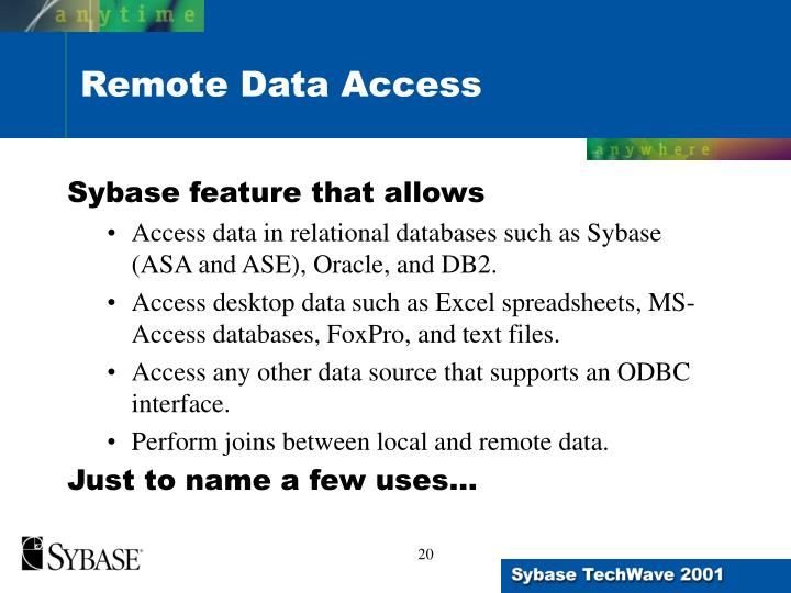 Sybase feature that allows