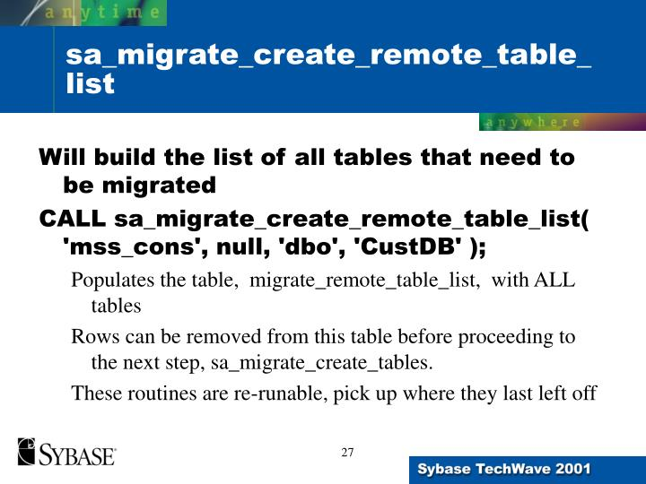 Will build the list of all tables that need to be migrated
