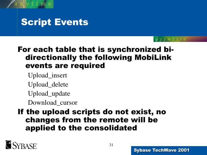 For each table that is synchronized bi-directionally the following MobiLink events are required