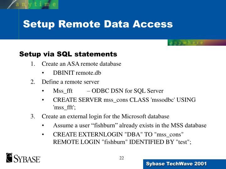 Setup via SQL statements