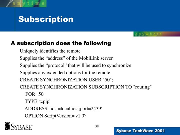 A subscription does the following