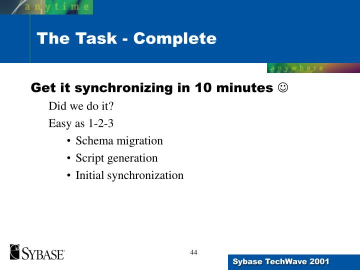 Get it synchronizing in 10 minutes