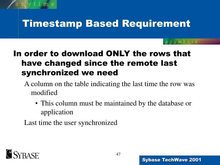 In order to download ONLY the rows that have changed since the remote last synchronized we need