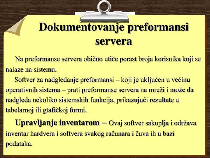 Dokumentovanje preformansi servera