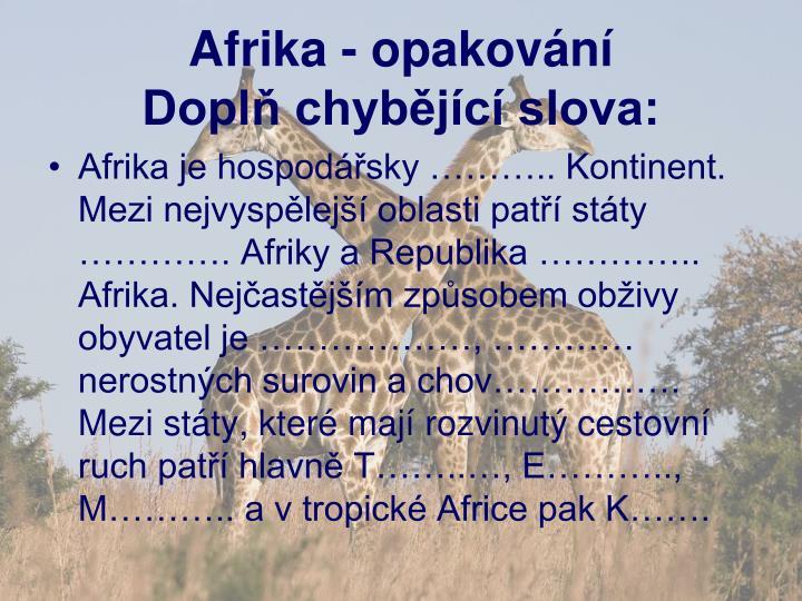 Afrika - opakování