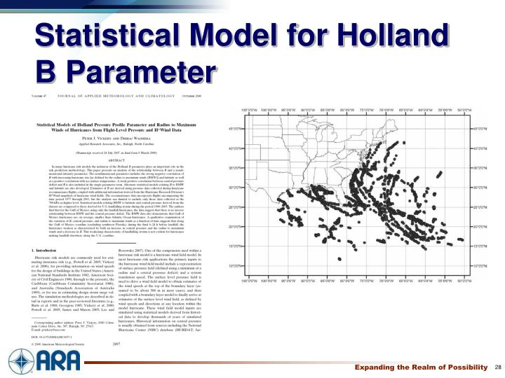 Statistical Model for Holland B Parameter