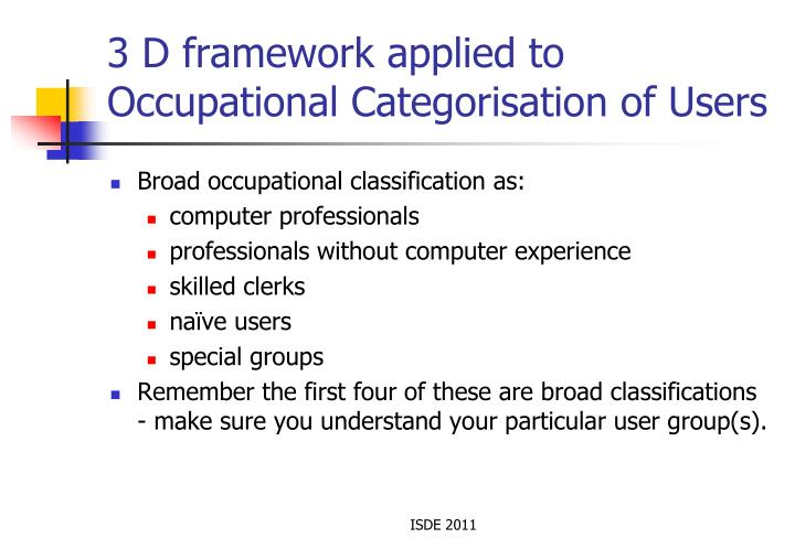 3 D framework applied to Occupational Categorisation of Users
