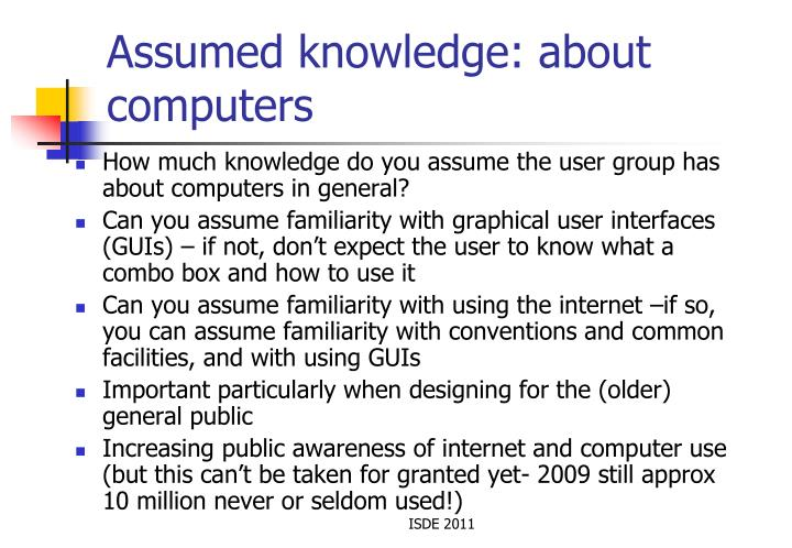 Assumed knowledge: about computers