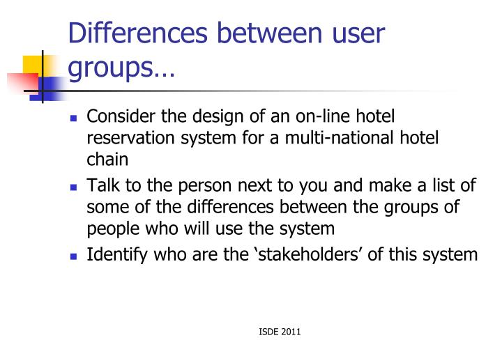 Differences between user groups…