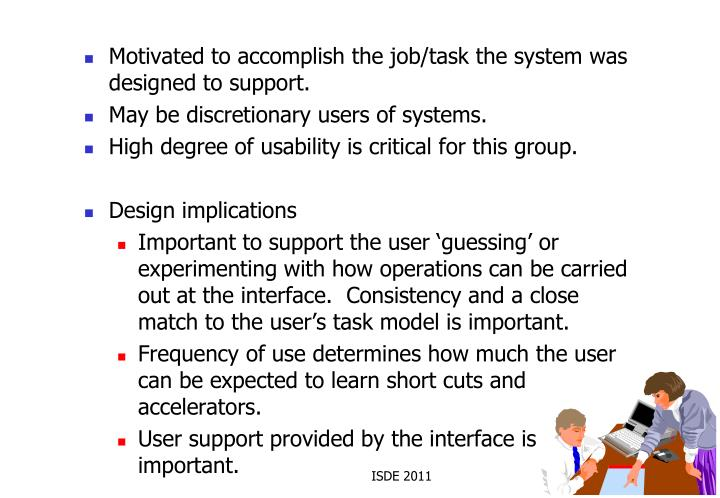 Motivated to accomplish the job/task the system was designed to support.