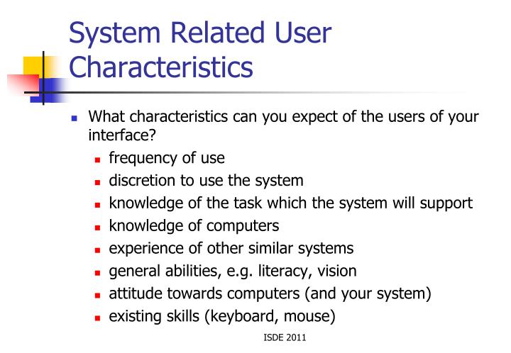 System Related User Characteristics