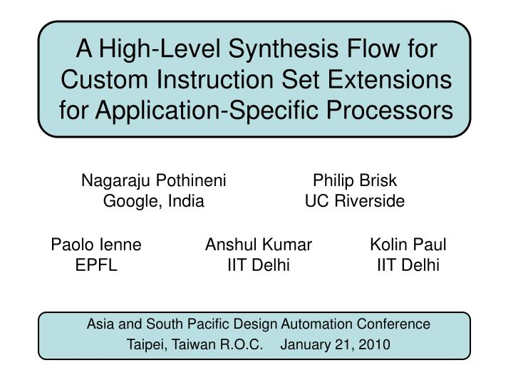 A High-Level Synthesis Flow for