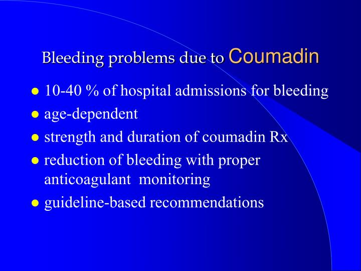 Bleeding problems due to