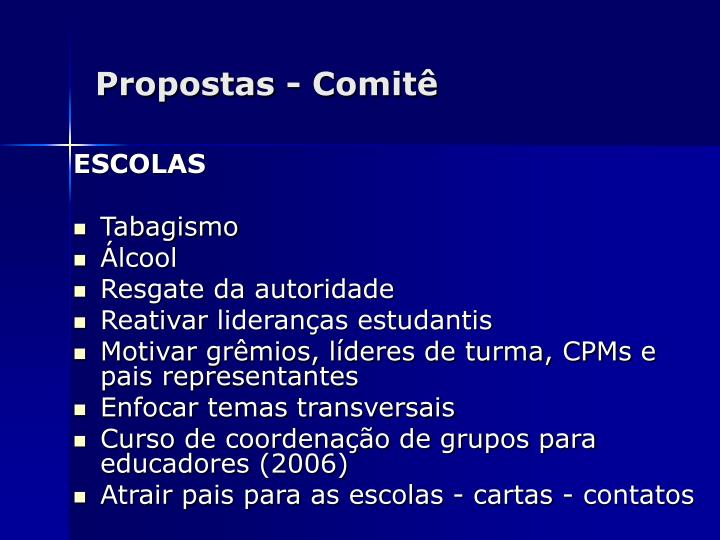 Propostas - Comitê