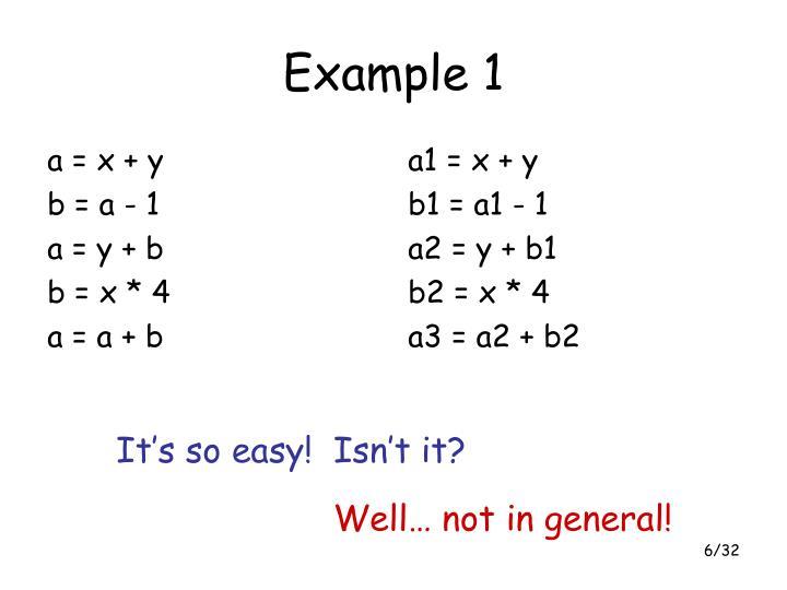a = x + y