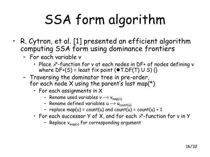 SSA form algorithm