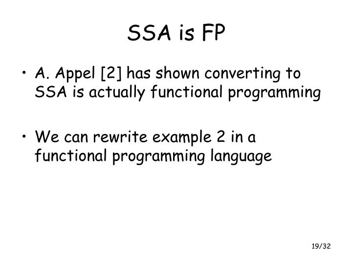 SSA is FP