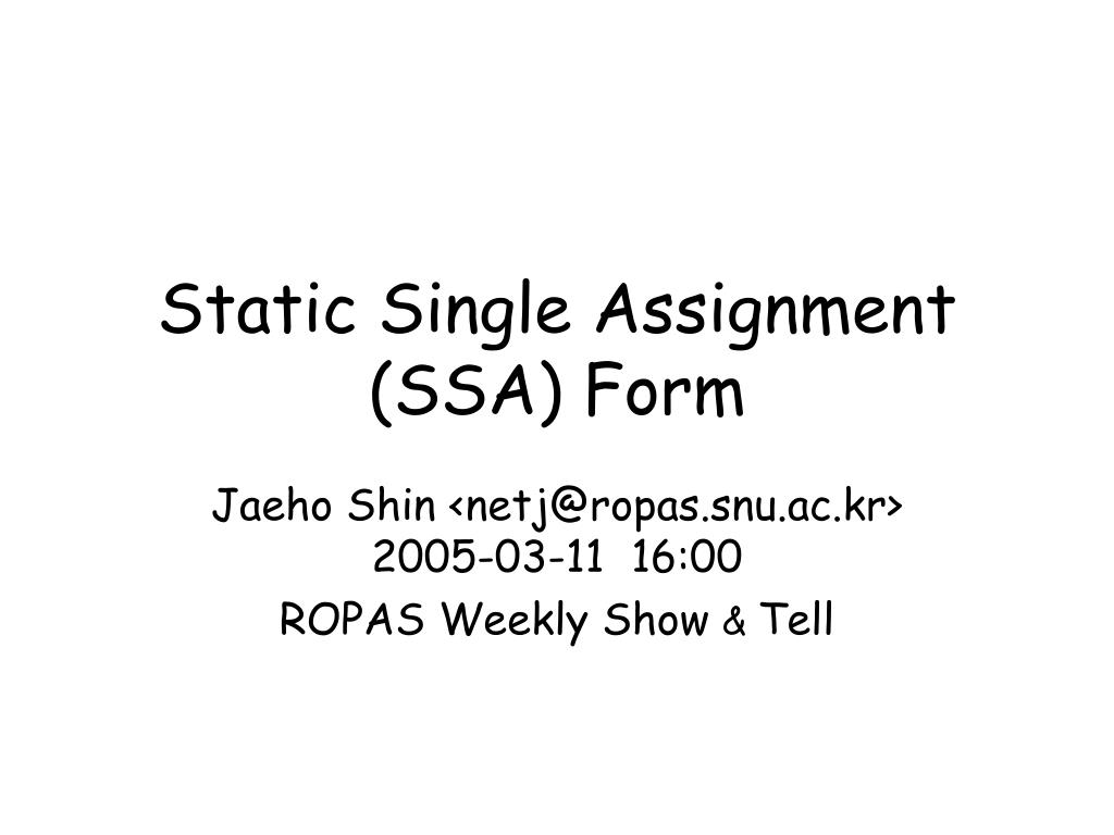 single assignment