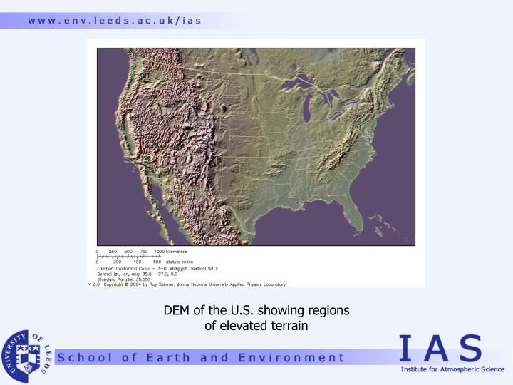 DEM of the U.S. showing regions
