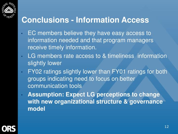 Conclusions - Information Access