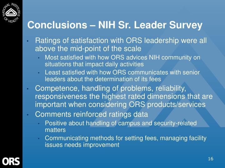 Conclusions – NIH Sr. Leader Survey