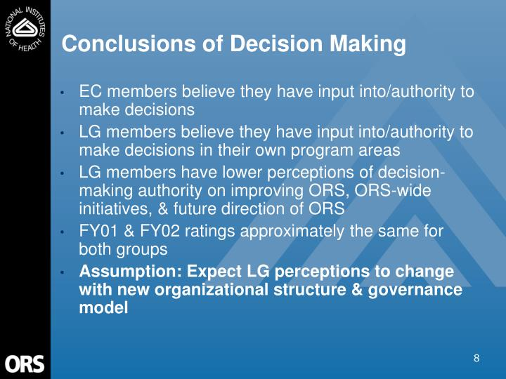 Conclusions of Decision Making