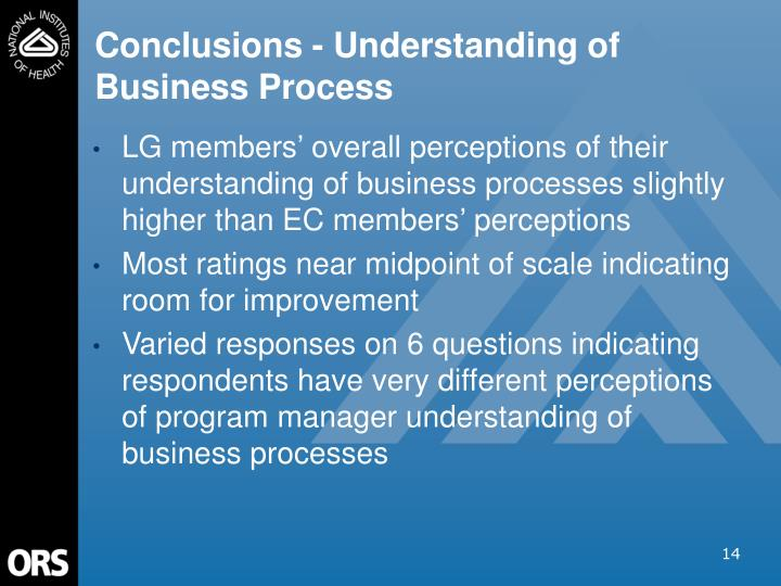 Conclusions - Understanding of Business Process