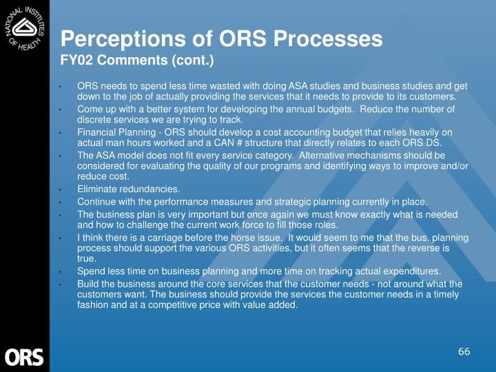 Perceptions of ORS Processes