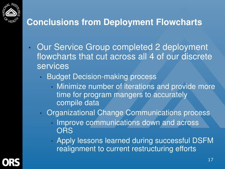 Conclusions from Deployment Flowcharts