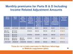 monthly premiums for parts b d including income related adjustment amounts