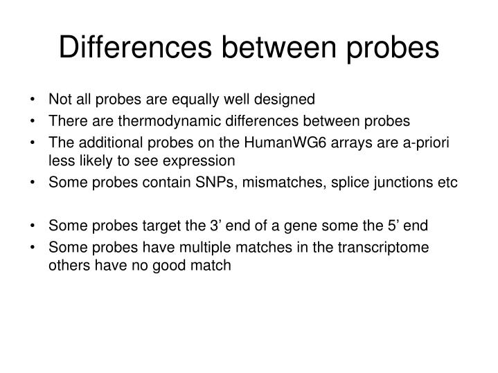 Differences between probes