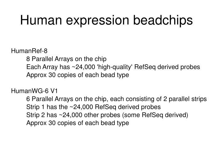 Human expression beadchips