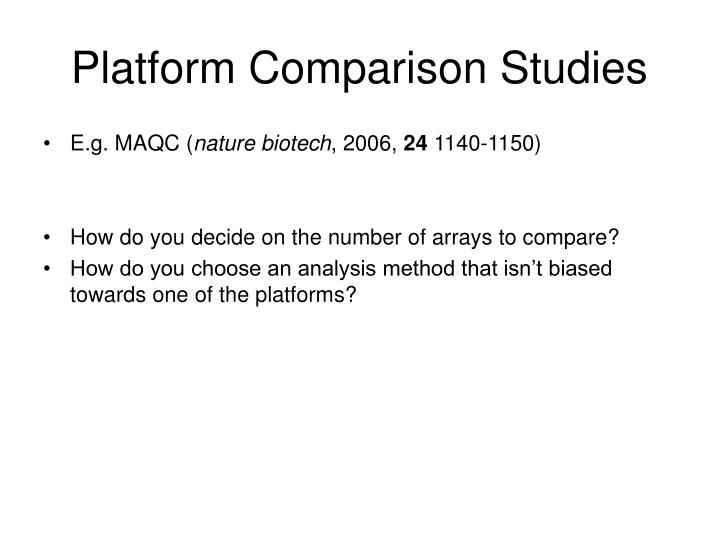 Platform Comparison Studies