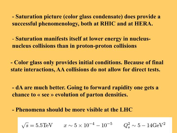 - Saturation picture (color glass condensate) does provide a successful phenomenology, both at RHIC and at HERA.