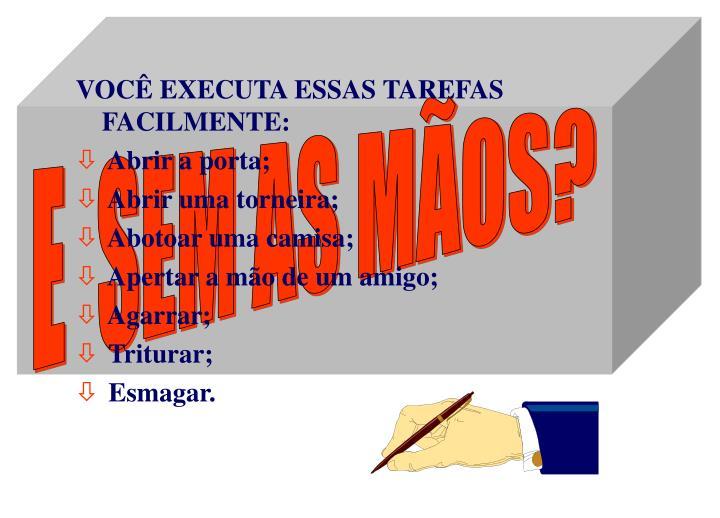 VOCÊ EXECUTA ESSAS TAREFAS FACILMENTE: