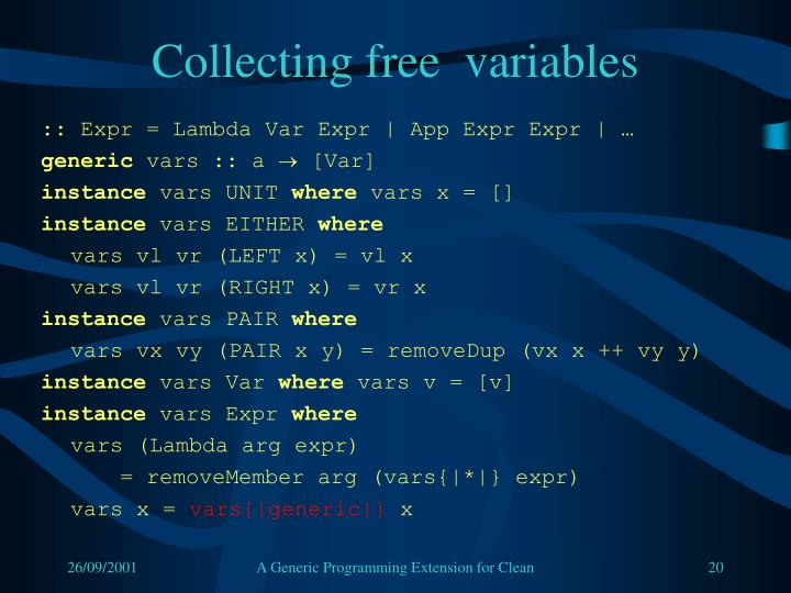 Collecting free  variables
