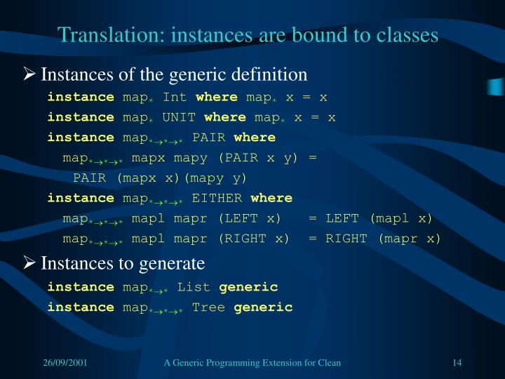 Translation: instances are bound to classes