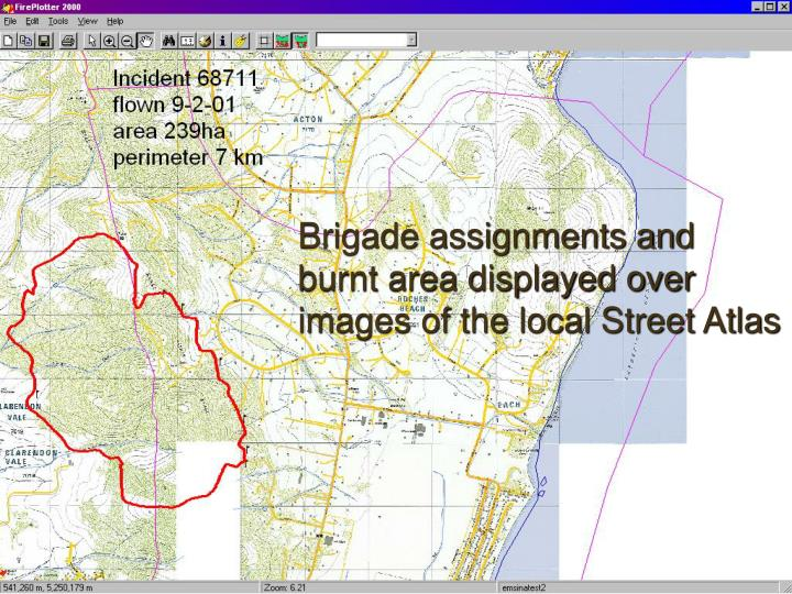 Brigade assignments and burnt area displayed over images of the local Street Atlas