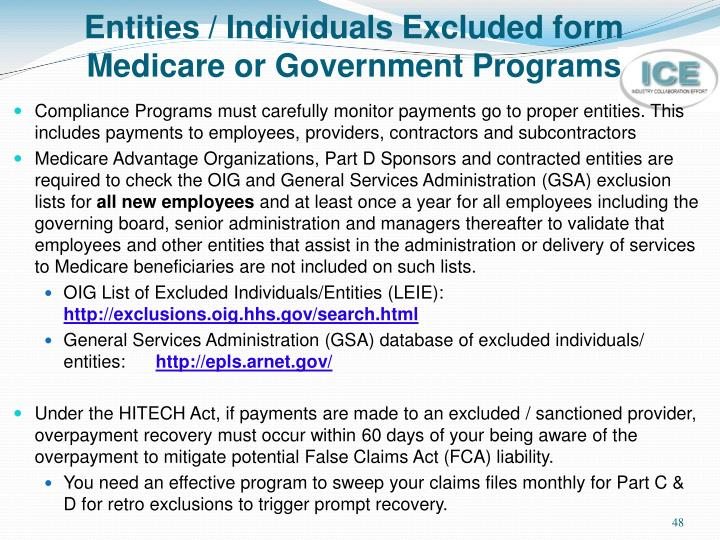 Entities / Individuals Excluded form
