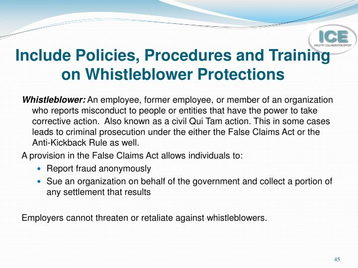 Include Policies, Procedures and Training on Whistleblower Protections