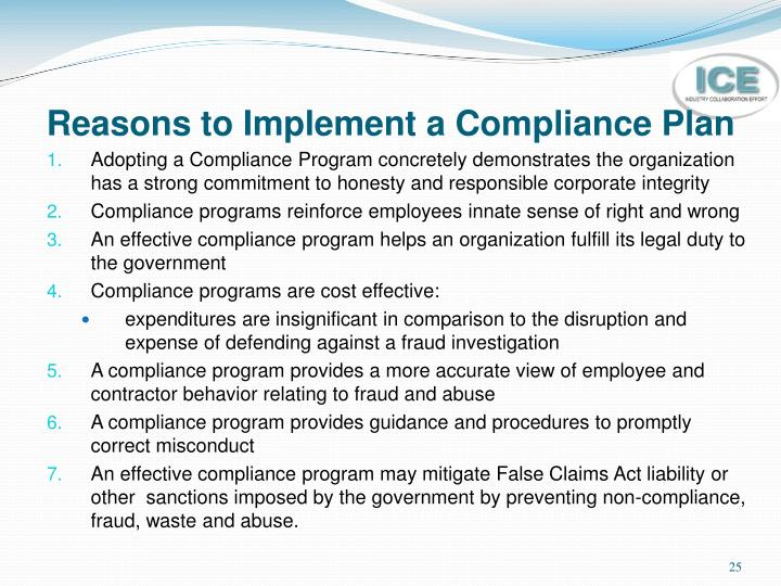 Reasons to Implement a Compliance Plan
