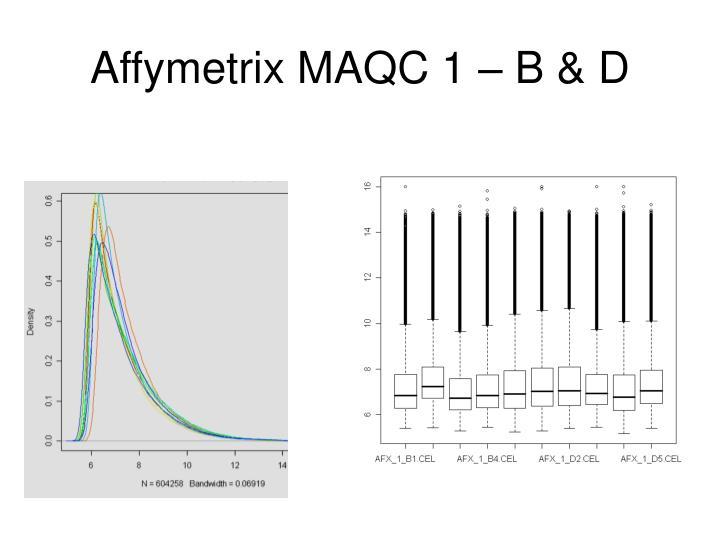 Affymetrix MAQC 1 – B & D