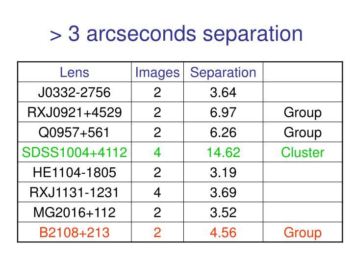 > 3 arcseconds separation