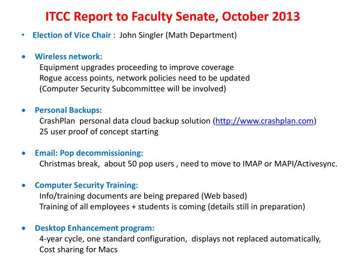 ITCC Report to Faculty Senate, October 2013