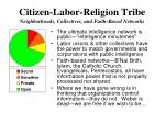 citizen labor religion tribe neighborhoods collectives and faith based networks
