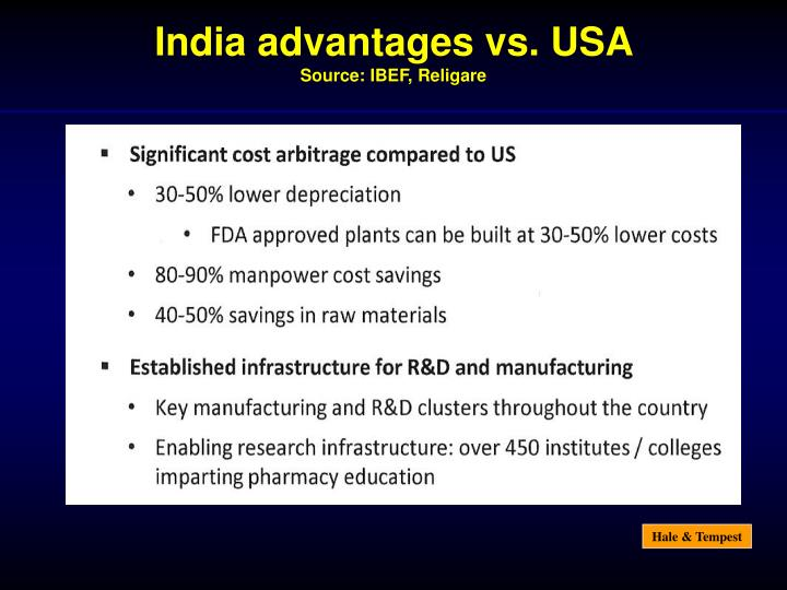 India advantages vs. USA