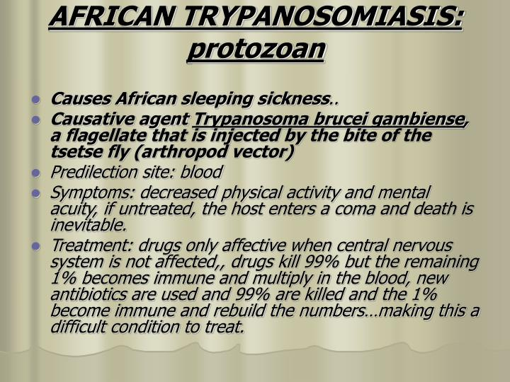 AFRICAN TRYPANOSOMIASIS: protozoan