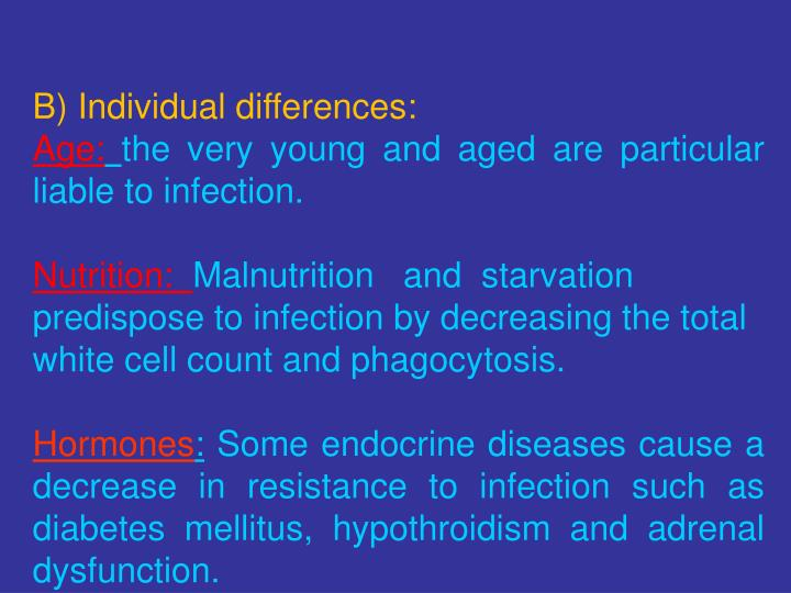 B) Individual differences: