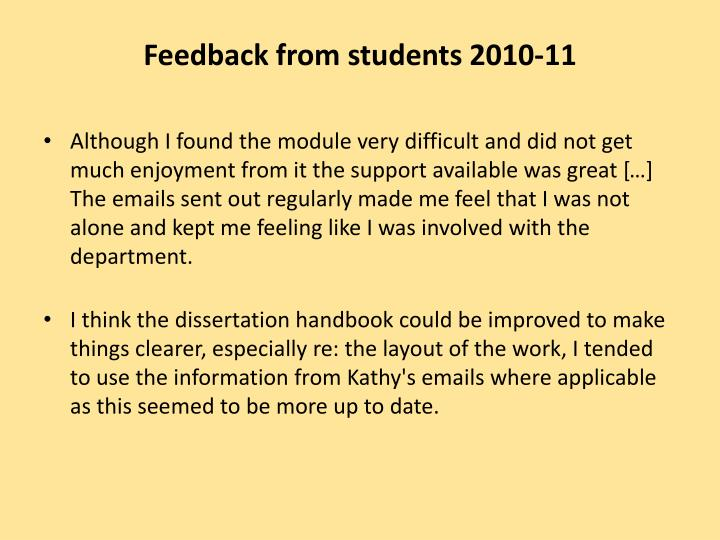 Feedback from students 2010-11